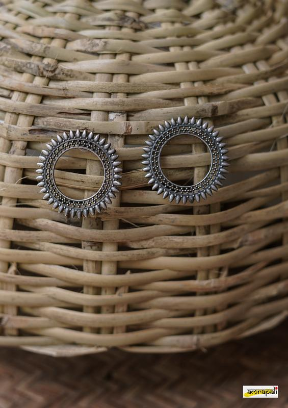 Statement German Silver Open Circle Stud Earrings