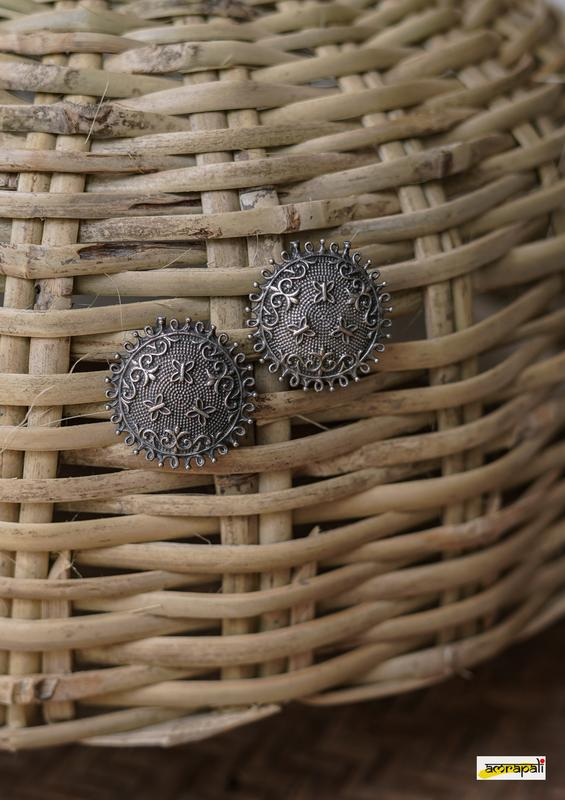 German Silver Antique Butterfly Embossed Dotted Studs