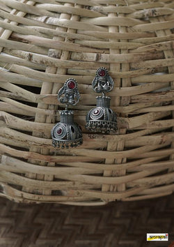 Stone-studded German Silver Antique Temple Jhumkas