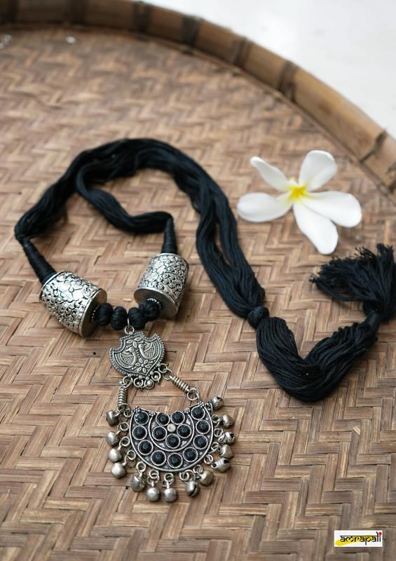 Stone-studded German Silver Black Thread Necklace