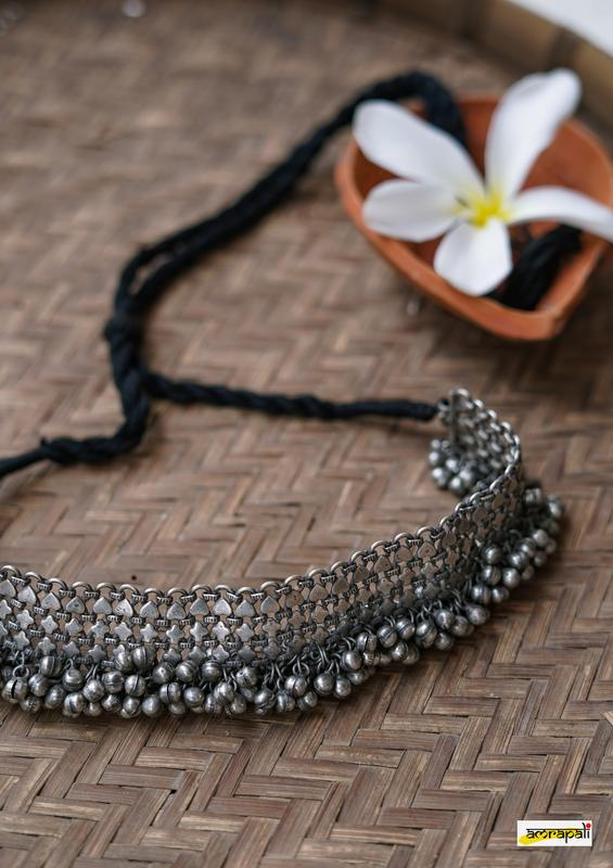 Antique-Finish German Silver Ghungroo Choker Necklace