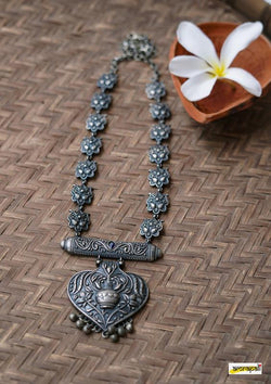 Antique-Finish German Silver Floral Embossed Temple Necklace