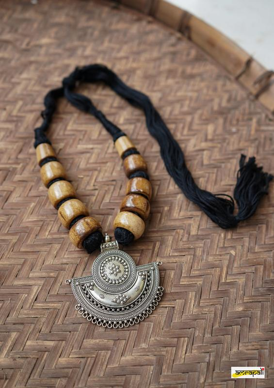 Wooden-finish Beaded German Silver Black Thread Necklace