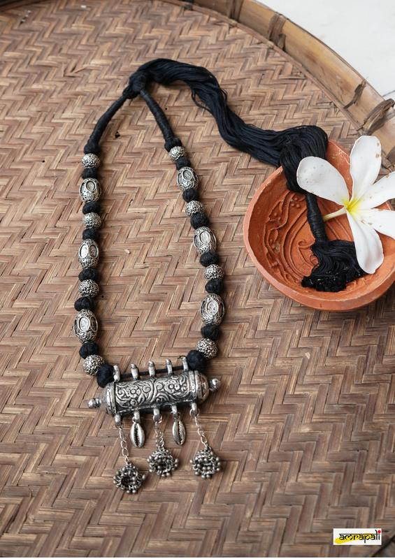 Antique-Finish Tribal German Silver Black Thread Necklace