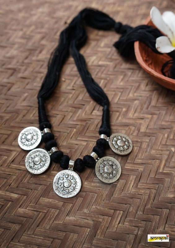 Floral Embossed German Silver Black Thread Necklace