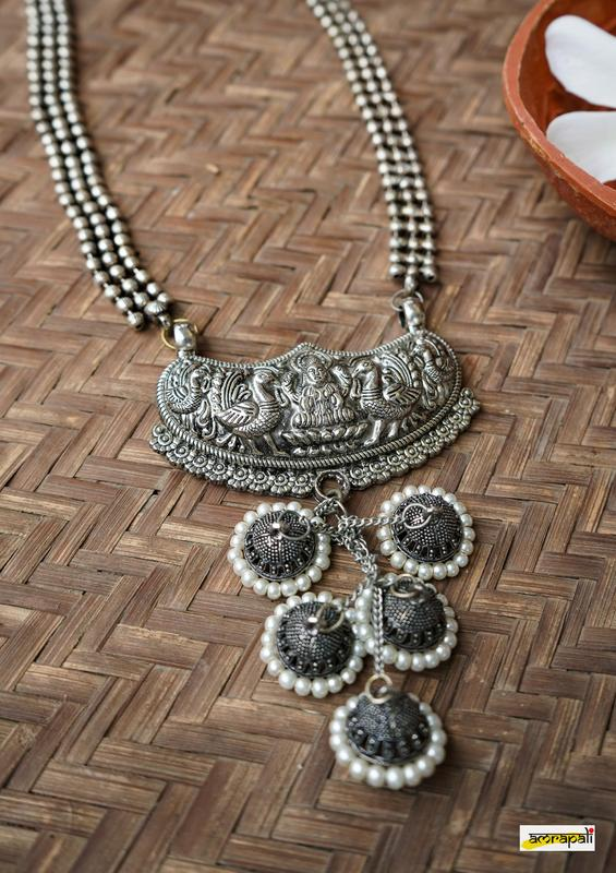 Antique-Finish Lakshmi Pendant German Silver Temple Necklace