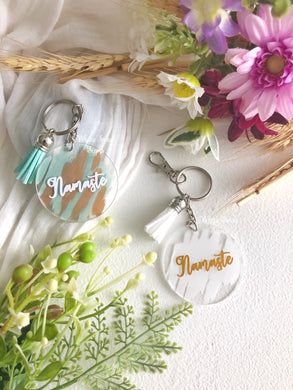 Namaste key rings- SOLD INDIVIDUALLY