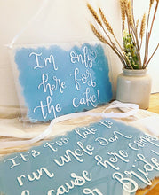 Load image into Gallery viewer, Custom acrylic hanging wedding plaque sign, perfect for page boys or flower girls to hold.