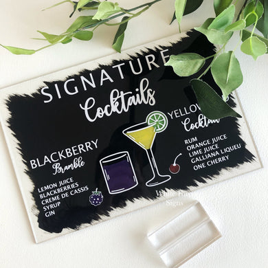 A4 size, Signature drinks, custom landscape drinks sign