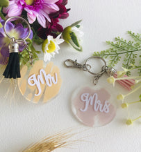 Load image into Gallery viewer, Mr/Mrs key rings- SOLD INDIVIDUALLY