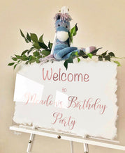 Load image into Gallery viewer, Birthday welcome sign. Personalised with your name. Any painted back colour.