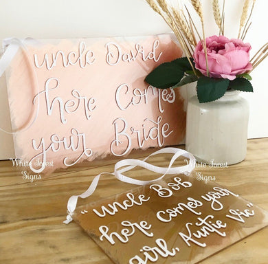 Custom acrylic hanging wedding plaque sign, perfect for page boys or flower girls to hold.