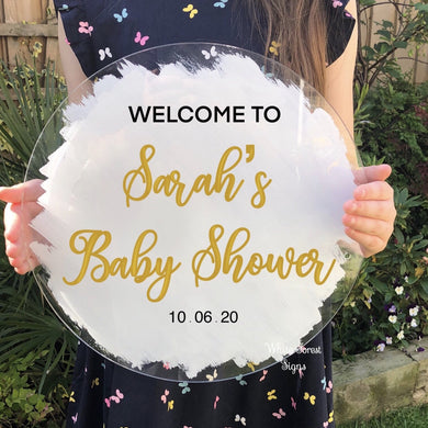 Bespoke Baby shower welcome sign