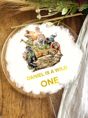 Personalised WILD ONE birthday Cake topper with jungle animals