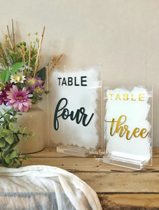 Acrylic table numbers. Choose your size and finish to suit your decor!
