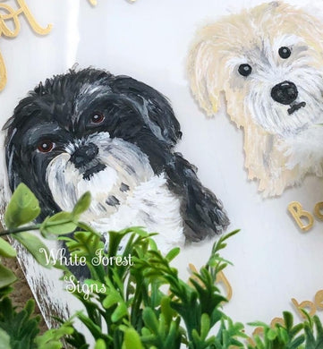 Pet portrait wedding sign with any text. Maximum of 18 words
