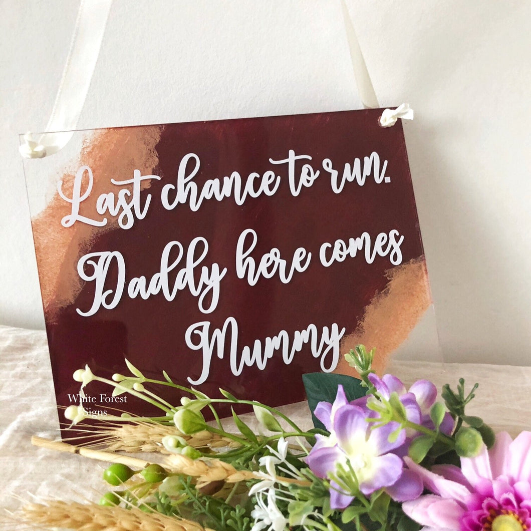 Acrylic hanging wedding plaque sign, perfect for page boys or flower girls to hold.