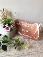 Load image into Gallery viewer, Acrylic hanging wedding plaque sign, perfect for page boys or flower girls to hold.