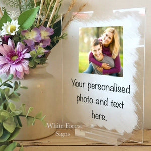Personalised photo and message sign- 25 words maximum