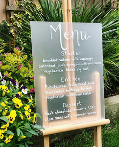 Frosted Wedding Menu acrylic sign.