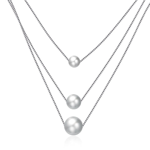 925 Sterling Silver Triple Pearl Necklace