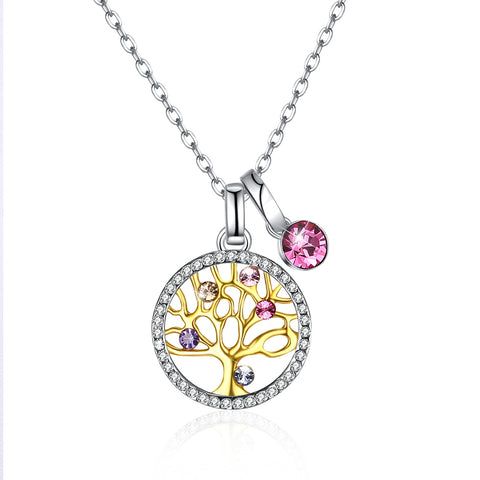 S925 Pure Silver Multiple Crystal Life Tree Pendant Necklace