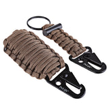 Outdoor Practical Paracord Survival Flint Fire Starter Fishing Tools with Snap Hook Key Chain