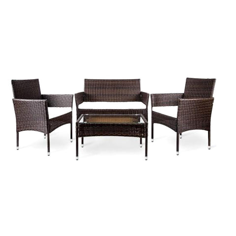 4 PC Outdoor Garden Rattan Patio Furniture Set Cushioned Seat Wicker Sofa