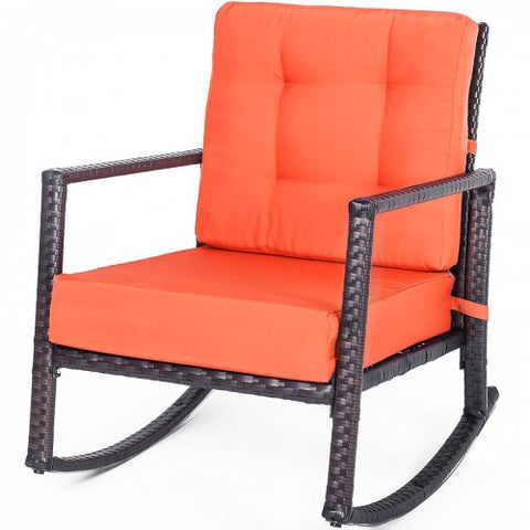 Cushioned Rattan Rocker Chair Rocking Armchair Chair Outdoor Patio Glider Lounge Wicker Chair Furniture with Cushion