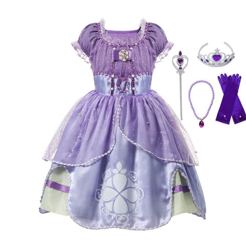 VOGUEON Summer Girl Sofia Princess Dresses Kids Puff Sleeve Sequin Sophia Cosplay Costume Children Halloween Prom Party Dress Up