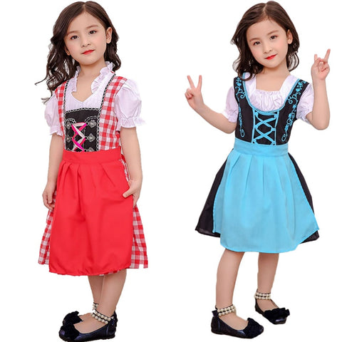 Child Girls German Oktoberfest Dirndl Maid Costume Peasant Lacing Up Apron Cotton Dress Puff Sleeves Outfit For Kid Girls 3-10T