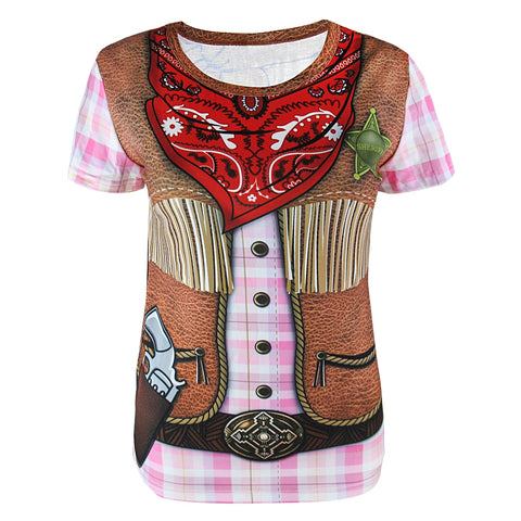 Women Cowgirl Flower Power Clown Pirate 3D T-Shirts Ladies  Oktoberfest Cosplay Top Adult Halloween Carnival Party Tee