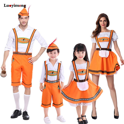 Halloween Family Party Dresses Cosplay Costume For Kids Boys German Austrian Bavarian Dress Oktoberfest Beer Girl Boys Costumes