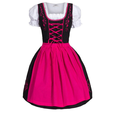 2019 Plus Size Women Medieval Costume Dress 5 Colors German Oktoberfest Dirndl Dress Cosplay Costume Party Dress for Women M-5XL