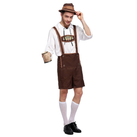 Sladuo Men Oktoberfest Costume Set Bavarian Octoberfest German Festival Beer Cosplay Adult Plus Size Halloween Costumes