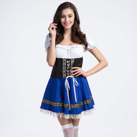 Blue Adult Carnival Party Club Bavarian Costume Oktoberfest Maid Cosplay Sexy Costumes Women Halloween Fancy Dress German Outfit