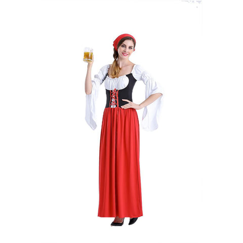Women Long Dresses Oktoberfest Maid Dress Costume Beer Festival Dress Suit Women Bavarian Style Dirndl Halloween Costumes