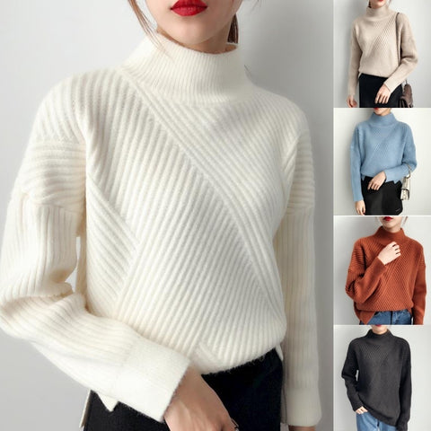 ZOGAA 2019 christmas sweater Casual fashion 6 colors turtleneck Autumn fashion 2019 new women sweater knit sweater women