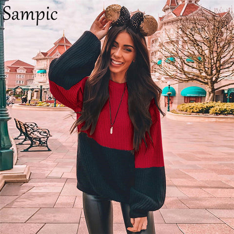 Sampic Long Sleeve Casual Pullover Patchwork O Neck Loose Christmas Jumper Red Black Winter Top Knitted Women Sweater 2019