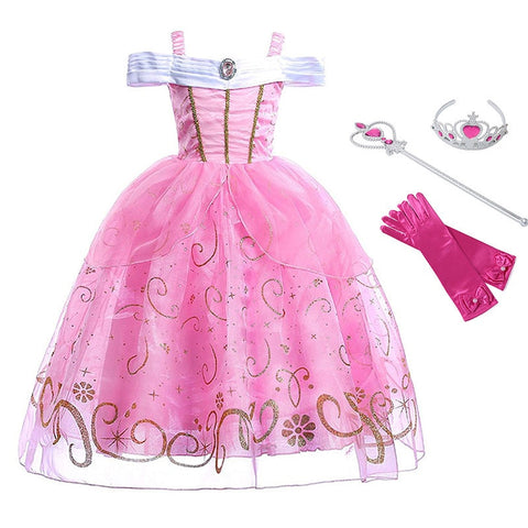 Girls Princess Aurora Dress Cosplay Sleeping Beauty Costume Kids Pink Sequined Halloween Dresses Children Party Fancy Clothing