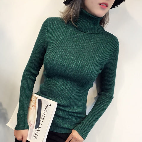 Glitter Turtleneck Womens Sweaters Winter Autumn Basic Sweater Women Pullover Women Knitted Ribbed Christmas Sweater Pull
