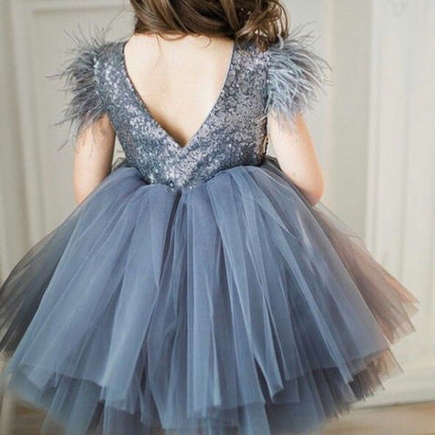 2019 HOT Girls Princess Party Pageant Wedding Tulle Tutu Sequin Bridesmaid Dress