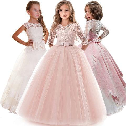 Kids Bridesmaid Flower Dresses For Party and Wedding Dress Children Pageant Gown Girls Princess Dress Toddler Girl Clothing