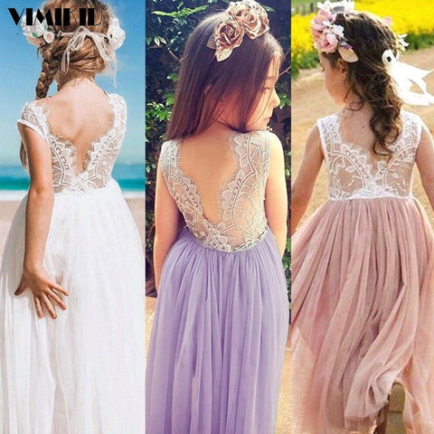 3-8 Years Summer Girl Dress Princess Wedding Party Little Girl Ceremonies Flower Lace Tutu Layered Dress Backless Clothes