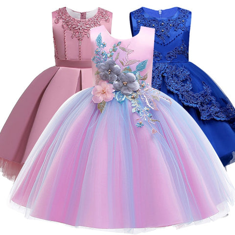 2019 Christmas Girls Dress Bridesmaid Kids Dresses For Girls Clothes Wedding Elegant Party Gown Tutu Princess Dress 3 8 12 Year