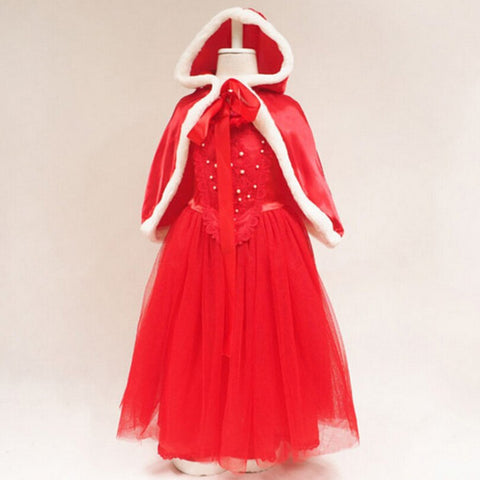 Girls Dress with Hooded Cloak Children Christmas Xmas Red Dresses Ball Gown Kids Halloween Princess Costume