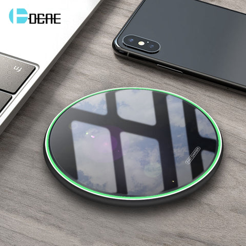 FDGAO 10W Qi Wireless Charger For iPhone 11 Pro X XS XR 8 Fast Charging Dock for Samsung S8 S9 S10 Note 9 8 USB Phone Charge Pad