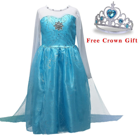 Christmas Girls Elsa dress Cinderella Snow White Princess Anna party dresses cosplay Summer Baby Kids Dresses baby girl clothes