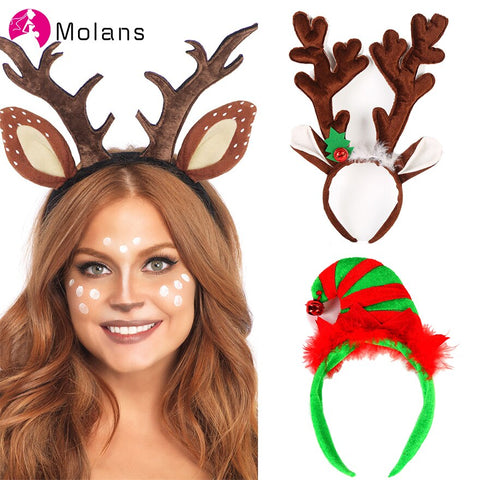 MOLANS Fawn Ear Antler Headbands Women Sequins Reindeers Antlers Christmas Headbands with Different Designs for Holiday Parties