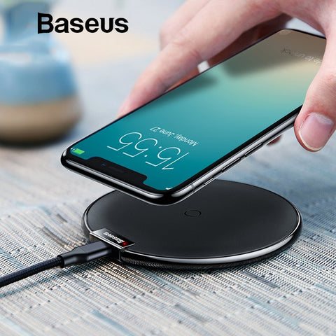 Baseus Qi Wireless Charger Pad For iPhone X XS Max XR 10W Fast Charger Wireless Charging for Samsung S9 Note 10 Wireless Charger